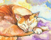 Tabby Dreams, 5 x 7 archival-quality print of an original painting by Cynthia Maravich, matt included