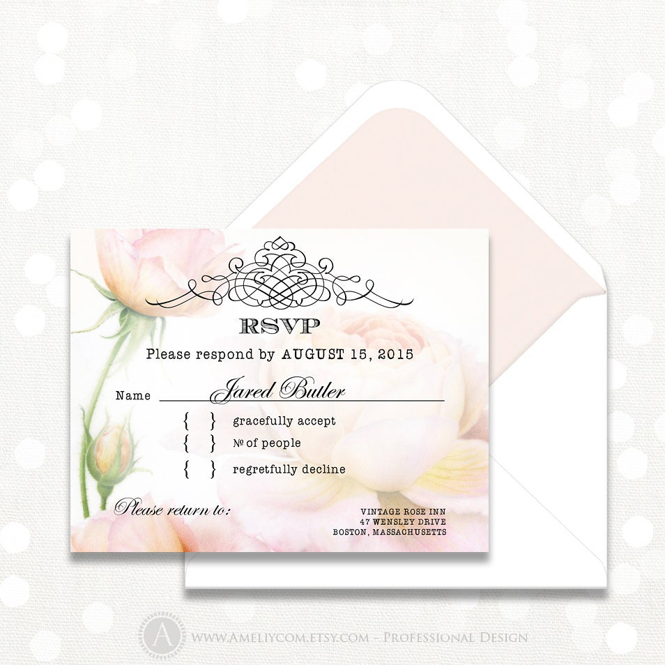 Printable rsvp card instant download digital retro blush pink for Printable rsvp card