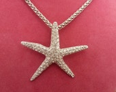 LARGE Starfish Necklace made with Clear Swarovski Crystals