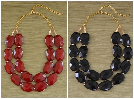 University of South Carolina Necklace - USC Necklace - USC Jewelry Graduation Gift - Red Garnet Bead Necklace - Black Statement Necklace