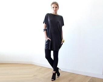 Metallic black tunic with pockets , Sparkling mini black dress 1038.