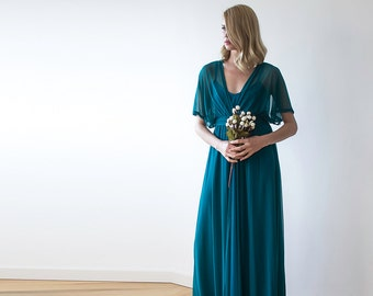 Teal green maxi sheer chiffon dress with bat-wings sleeves 1027