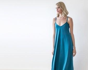 Teal blue maxi straps dress, Maxi blue casual dress 1026