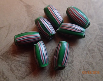 Antique 1800's Green & Red Watermelon Beads/7 Beads/PJsBeadedEagle