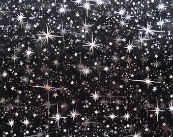 Star Bursts Sheer Organza Black 58 Inch Wide Fabric by the Yard - 1 yard