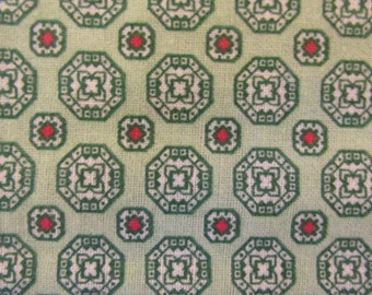 1960's Blend of Cotton and Polyester Fabric in a Green With Red Circles Print - 3 yards and 22 inches