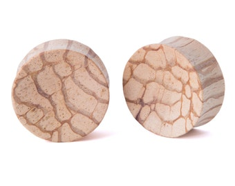 "5/8"" Pair Monkey Ladder Wood Concave Plugs - Dunnygun Body Piercing Jewelry Gauge Earrings"