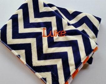 Minky Baby Blanket // Minky Crib Blanket // Navy Chevron Minky and Orange Chevron Minky Blanket // Auburn Baby Blanket //