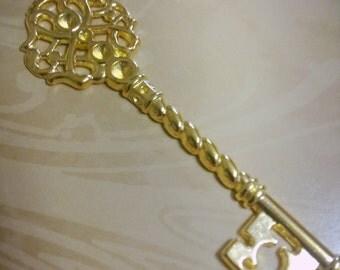 "Large Skeleton Key Pendants Shiny Gold 68mm 2.67"" 2 pieces"