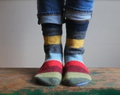 Women's Felted Wool Slippers/Cottage Socks with Leather Sole,  Size 6