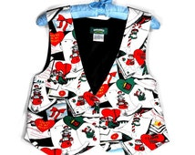 Vintage Christmas Vest - Raggedy Ann and Andy, Retro, Green, Red, Black and White, Ladies Small, Made by Snowden
