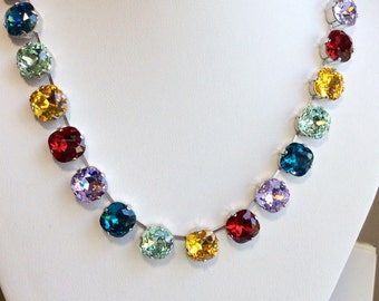 Swarovski Crystal Necklace - All 12mm Cushion Cut Square Stones-  Special, Special, Order - Mardi Gras Colors