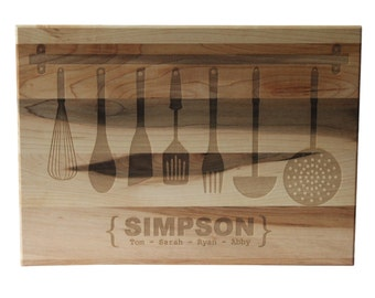 Unique Christmas Gift Personalized Cutting Board 10x14 Maple Custom Laser Engraved