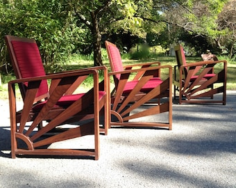 Art Deco, Solid Rosewood Sunburst set: One Love Seat & Two Lounge Chairs