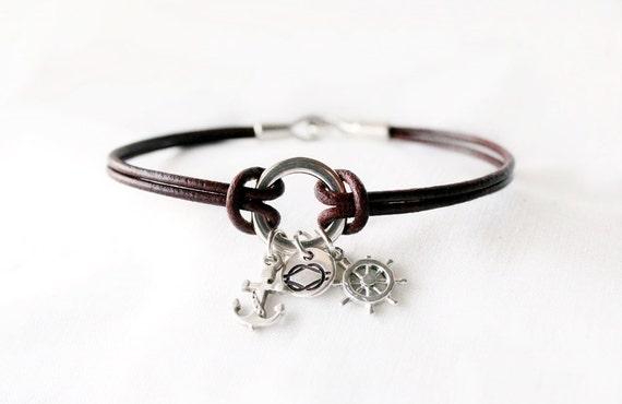 Art culos similares a pulsera de cuero marinera ancla - Nudos marineros para pulseras ...