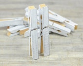 White wash CLOTHESPINS, Set of 10 Pegs, Wedding Decor , Escort Card Holders, wooden clips, Banner Holder, shabby chic, festive