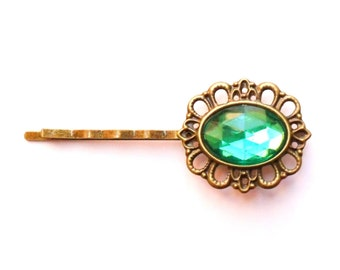 Emerald Green Cameo Rhinestone Hairpin Vintage Style Jewelled Hair Clip Jewel Bobby Pin Bridesmaid Gift, Estate Style Grip Hollywood Glamour