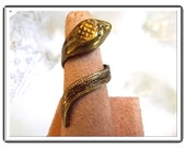 Damascene Snake Ring - Adjustable Vintage From Spain   R3358a-090314007