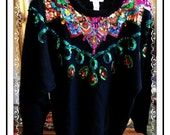 SML Sport Lmtd Sequin Sweater - Must  C  Vintage Highly Decorated  - Size L- CLO-144a-110413020