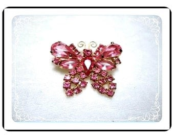 Rhinestone Butterfly  Pin- Vintage Pretty and Pink  Pin-1843a-040810000