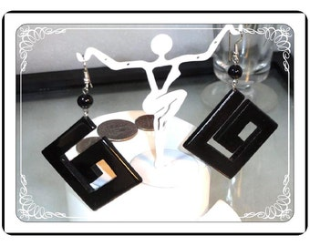 Dangling Pierced Earrings -  Contemporary Black  E2233a-120413000
