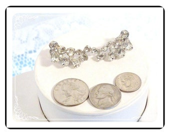 Clip on Earrings - Vintage Crescent Rhinestone Clip on Earrings - Sparkling  E378a-080512000
