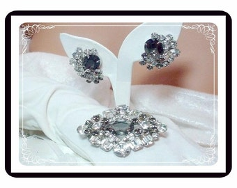 Juliana  Rhinestone Demi  -  Brooch and Earring Set - Blue and Clear Rhinestones Irresistible Icy Hot D&E   555a-082208045