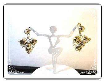 Vintage Dangling Earrings - Gold Metal Pin Wheel  - E3426a-092212000