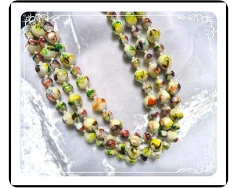 PopArt Bead Necklace -  Multi-Strand Colorful  Vintage    Neck-1946a-012312000
