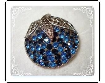 Fancy Blue Rhinestone Brooch - Fancy with Filigree Leaves  Pin-1230a-040510000