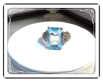 Big Bling Ring - Blue Glass in Silvertone Setting Retro Ring   -  Vintage 925   -      R1822a-051713000
