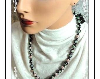 Cloisonne Flower Necklace - Vintage Black, Pastel Pink & Blue Beads   Neck-1984a-080513000
