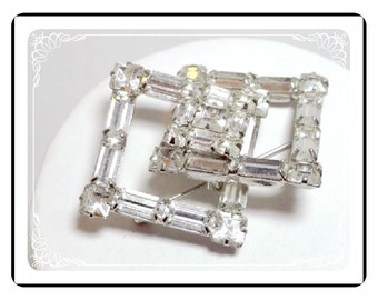 Rhinestone Brooch Pin  - Vintage Interlocking Diamond Shaped   Pin-1548a-052112000