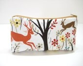 Deer Pouch, Cosmetic Bag, Zippered Pouch, Deer Print