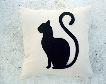 Black Cat pillow cover - Beige linen pillow with felt cat - Meow Cat Lovers - Gift for her for children for mom - Ready Ship - Sitting cat