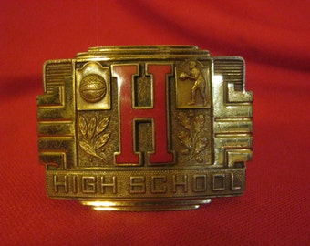 Belt Buckle Art Deco Brass And Lacquer By Giant Grip
