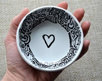 OOAK Hand Drawn Porcelain Jewelry/Trinket Dish