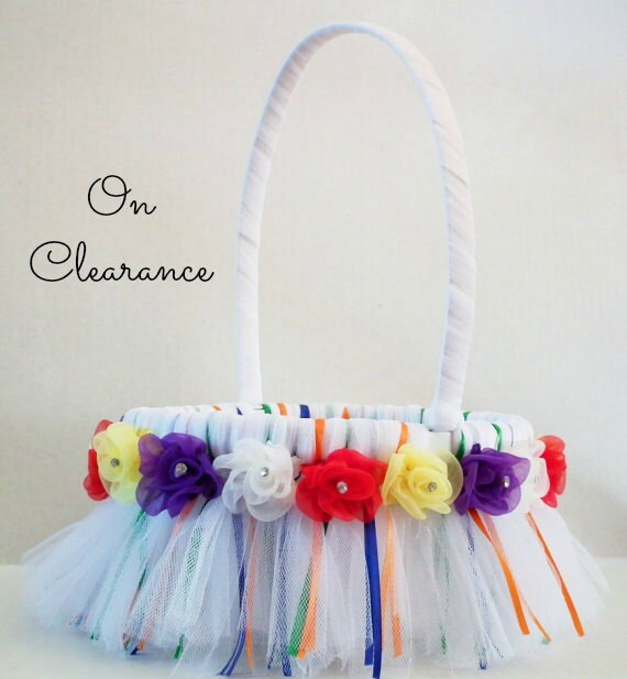 On clearance - rainbow tutu flower basket - white basket  with red, blue, green, purple, orange, yellow ribbons and flowers, ready to ship