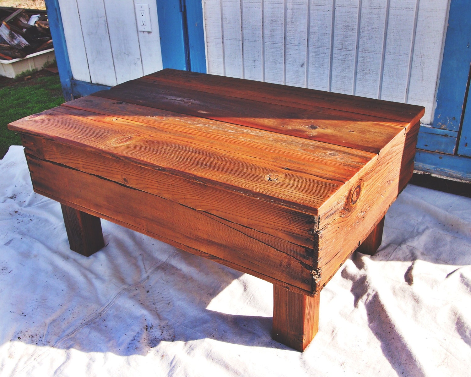Fruit crate coffee table with 4x4 legs by urbanminingcompany for Coffee tables 4x4