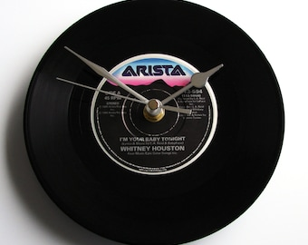 """WHITNEY HOUSTON Wall Clock """"I'm Your Baby Tonight"""" or choose your song.. 7 inch vinyl record Great retro gift for wedding or anniversary pop"""