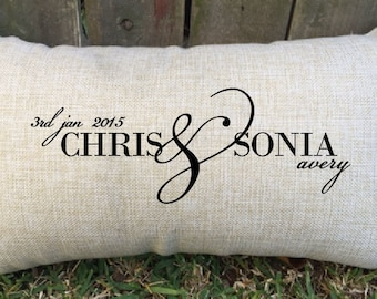 """Spoil your partner with this gorgeous date & names couples pillow, perfect for 2nd wedding anniversary """"cotton"""", wedding gift, bridal shower"""