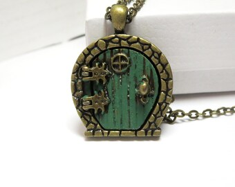 Fairy Door Necklace  - Antique silver fairy  door jewelry