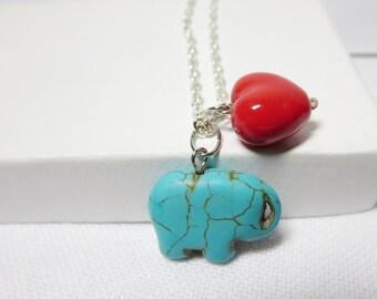 Elephant Necklace, Good luck Charm  ,Romantic Lucky  Pendant