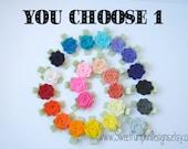 Large Wool Felt Flower Clip - Choose 1 Flower Clip - Rainbow Colors - Rose Toddler Clip - Girls Flower Barette -Baby Clip HC1230