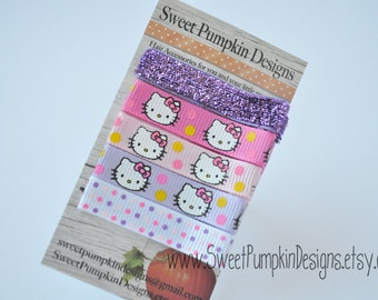 Kitty Baby Girl Hair Clip - Everyday Clip Set -Pink & Purple Glitter and Kitty Simple Clips -Alligator Clips - EC1517