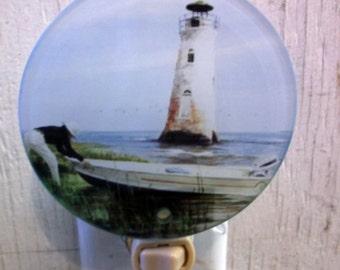 lighthouse night light, decorative night light, pretty night light, bathroom light, kitchen night light, night light,
