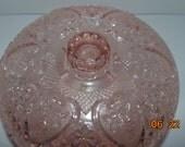 "Vintage KIG MALAYSIA PINK Heart Fleur De Lis Depression Glass Footed Candy Jar Dish Bowl w/ Lid 7"""