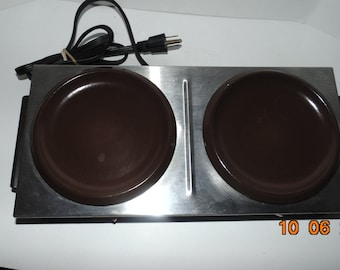 VINTAGE Farmer brothers two burner coffee warmer heater commercial