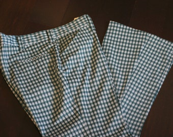 vintage polyester hunter green and white checked pants from wards