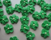 Green royal icing flowers with pearl centers -- edible cake decorations cupcake toppers (24 pieces)
